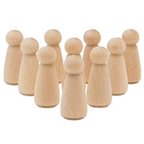 """50 Little Wooden People Peg Doll - Girl  2"""" tall"""