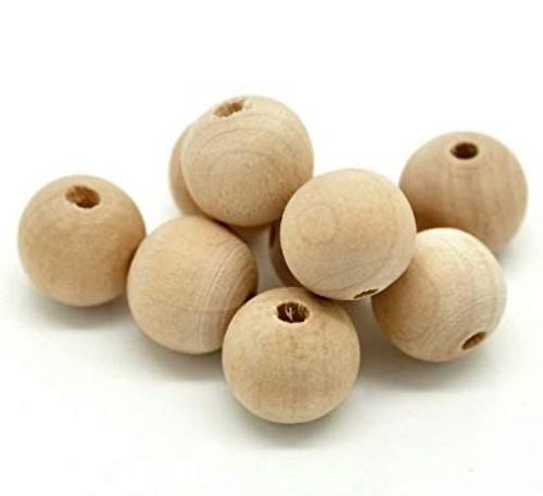 """1' Maplewood Round Beads w/ 7/32"""""""" Hole"""