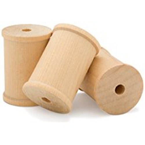 "Unfinished Wooden Thread Spools - 2-1/8"" tall x 1-1/2"" wide w/ 3/8"" hole"