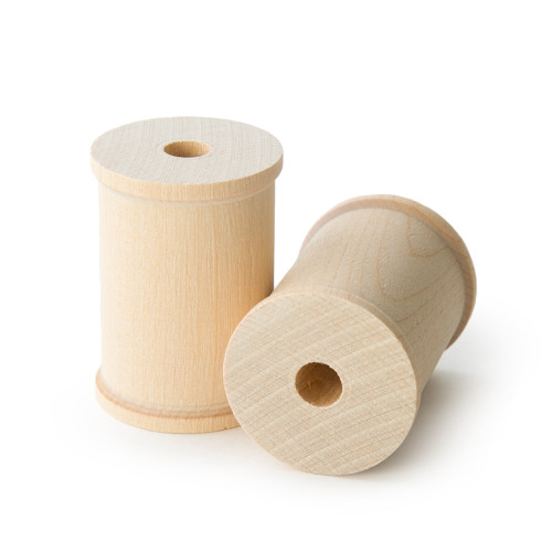 """Unfinished Wooden Thread Spools - 2-1/8"""" tall x 1-1/2"""" wide w/ 3/8"""" hole"""