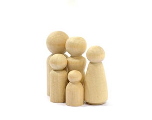 Little Wooden Peg Doll Family of 5 (Twenty Families of Five)