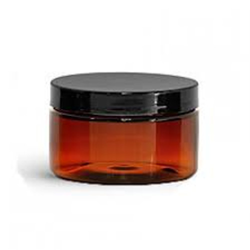 4 oz Amber PET Heavy Wall Jar w/ Smooth Black PS22 Lined Cap - Set of 12 Active
