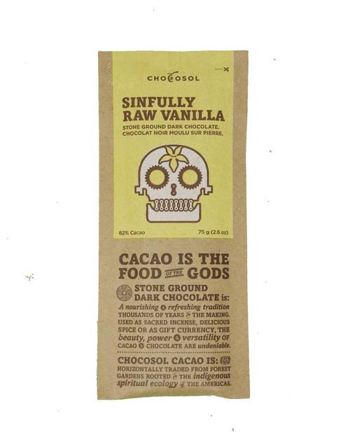 Chocosol Sinfully Raw Vanilla 82% Chocolate Bar