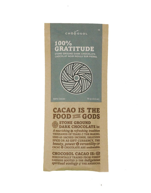 Chocosol Gratitude 100% Chocolate Bar
