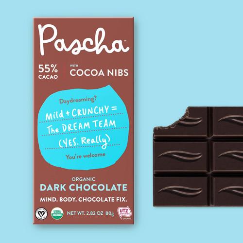 Pascha Organic 55% Dark Chocolate Bar with Cocoa Nibs