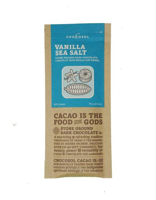 Chocosol Vanilla & Sea Salt 65% Chocolate Bar