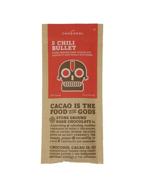 Chocosol Five Chili Bullet 75% Chocolate Bar