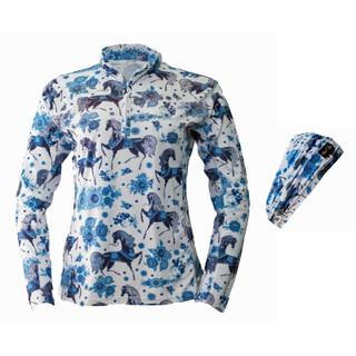 Anni Lyn Sportswear Women's Sun Shirt/Headband Combo - Blue Horse