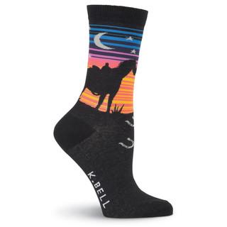 K Bell Women's Sunset Rider Design Crew Socks