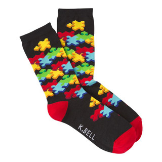 K. Bell Women's 3-D Jigsaw Puzzle Crew Socks