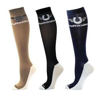 TuffRider Ladies Coolmax Knee Hi Boot Socks - Sand/Black/Navy