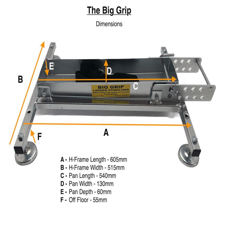 Big Grip Ladder Stabiliser with Dimensions