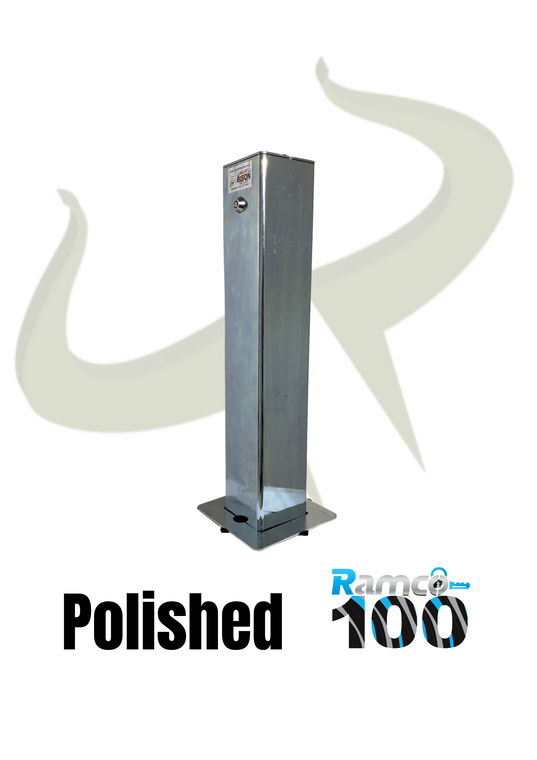 Ramco 100 Ultra Shiny ultimate driveway security post with stainless steel style polished finish 100mm x 100mm x 540mm square top.
