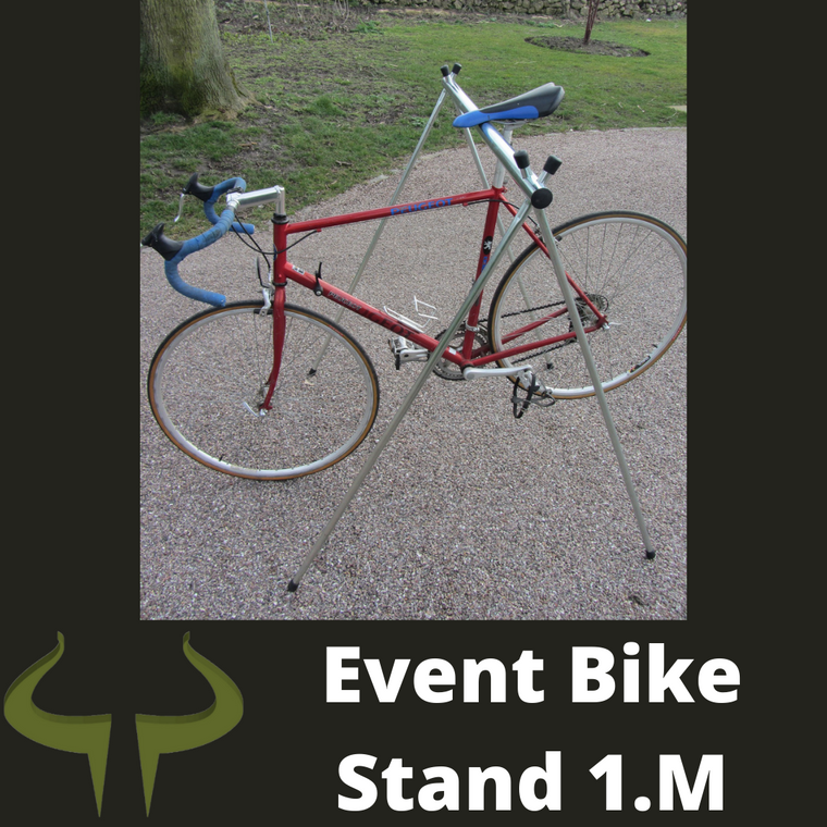 Event bike rack for race bikes in organised racing event, triathlons, heptathlons, iron man, endurance racing 1 meter 2 bikes
