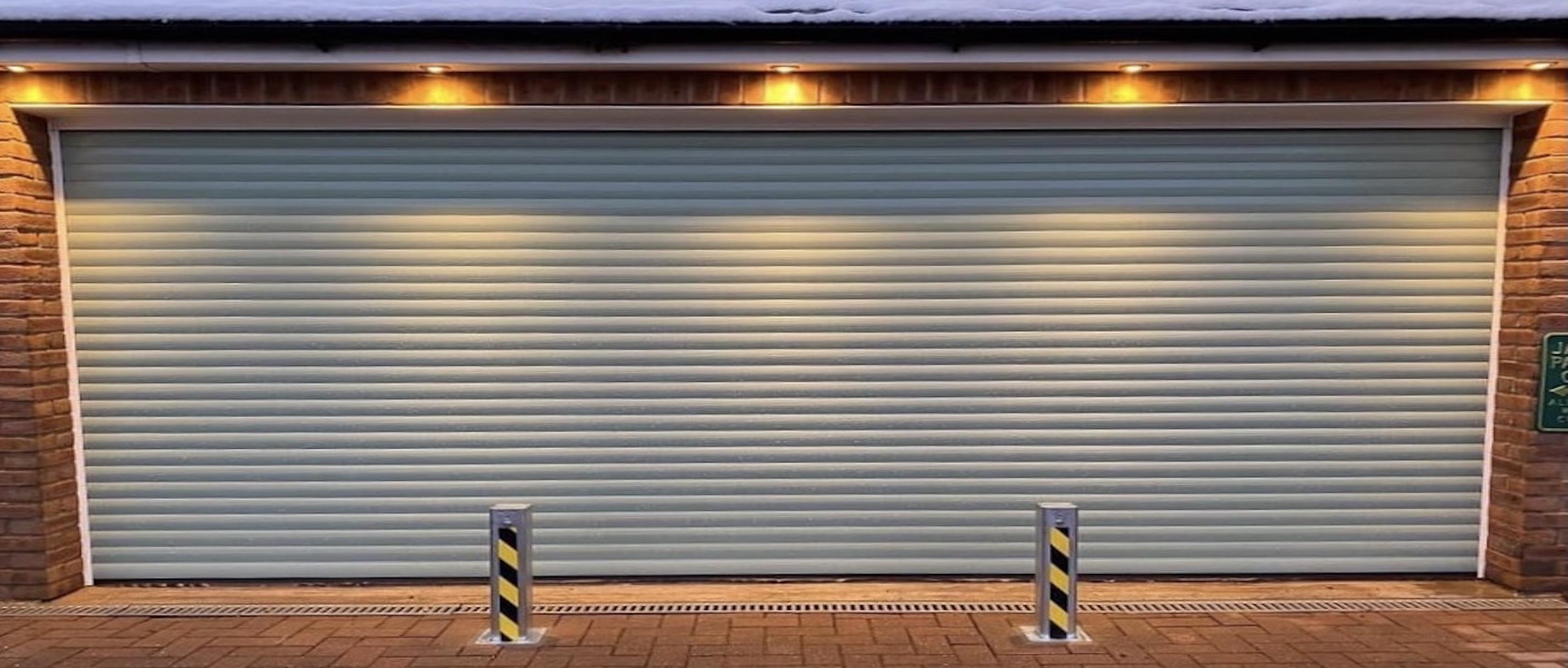 Driveway Security Bollards infant of garage