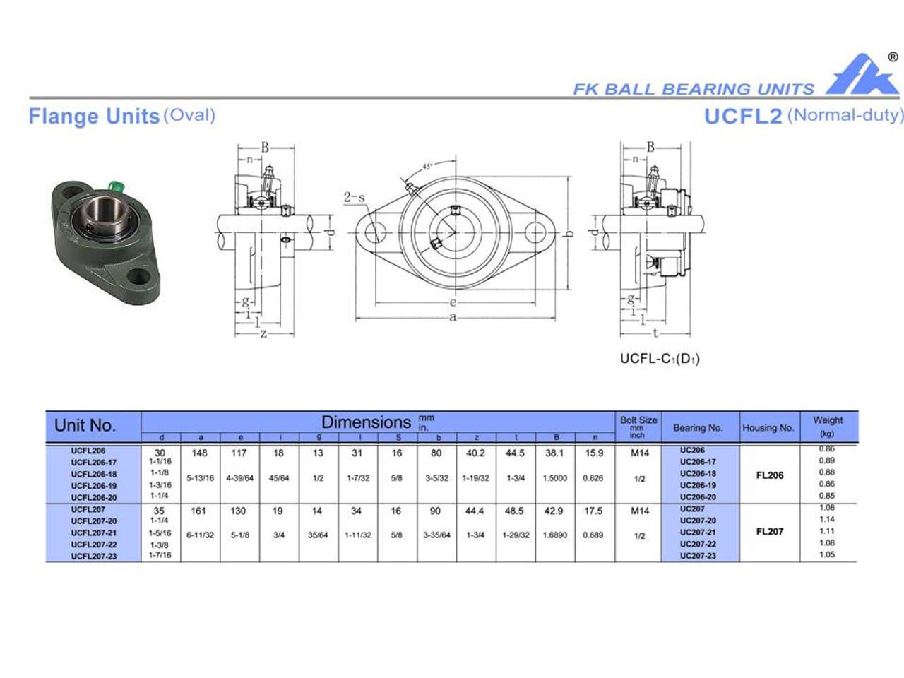 """UCFL206-18   1 1/8"""" Bore"""