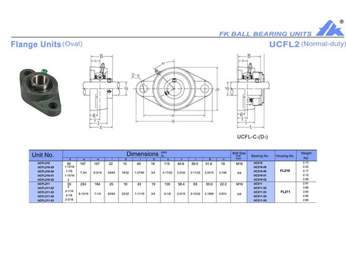 """UCFL211-32S   2"""" Bore 18mm Bolt Holes"""