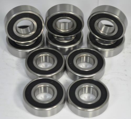 (Qty 10) 6205-2RS  25mm Bore - Rubber Seals