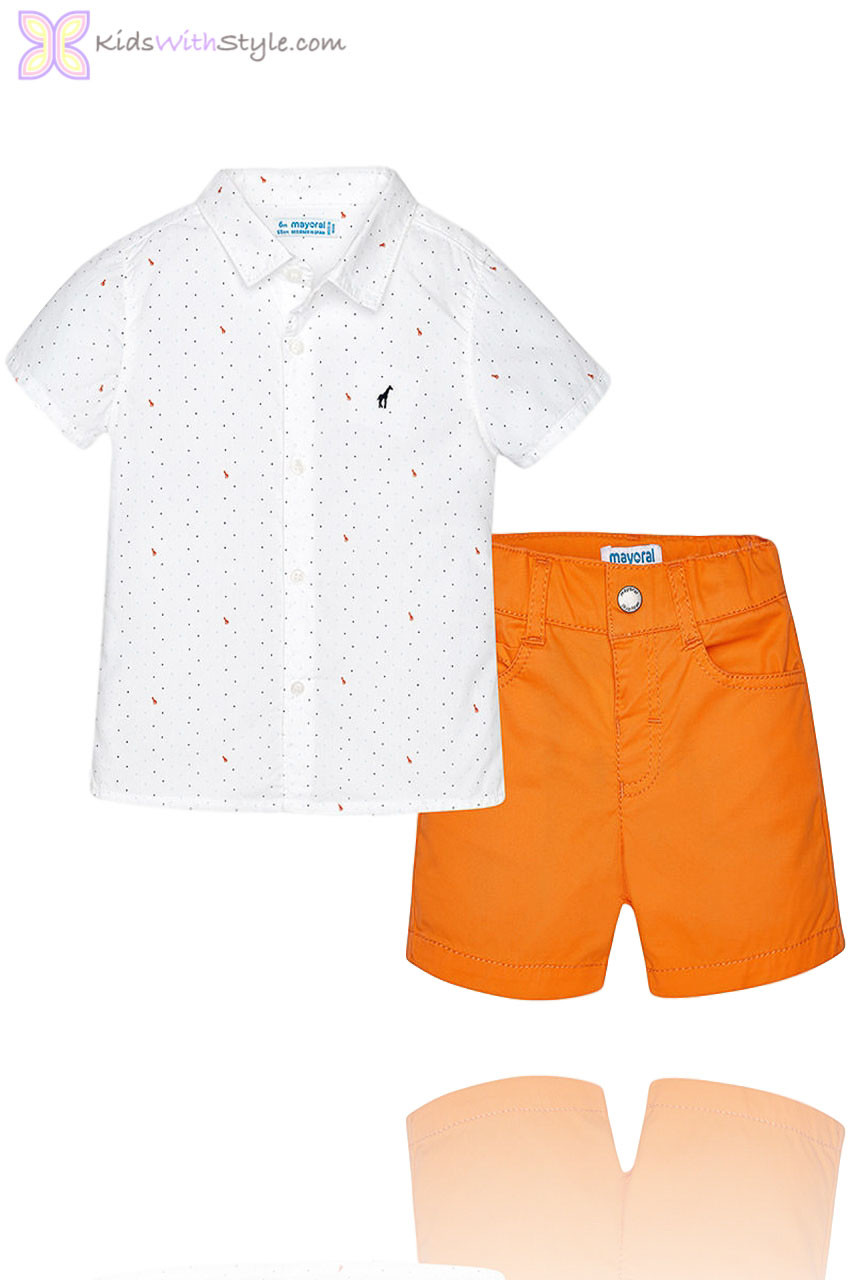 2cc3255dd Dapper Baby Boy Orange Shorts and Shirt Set
