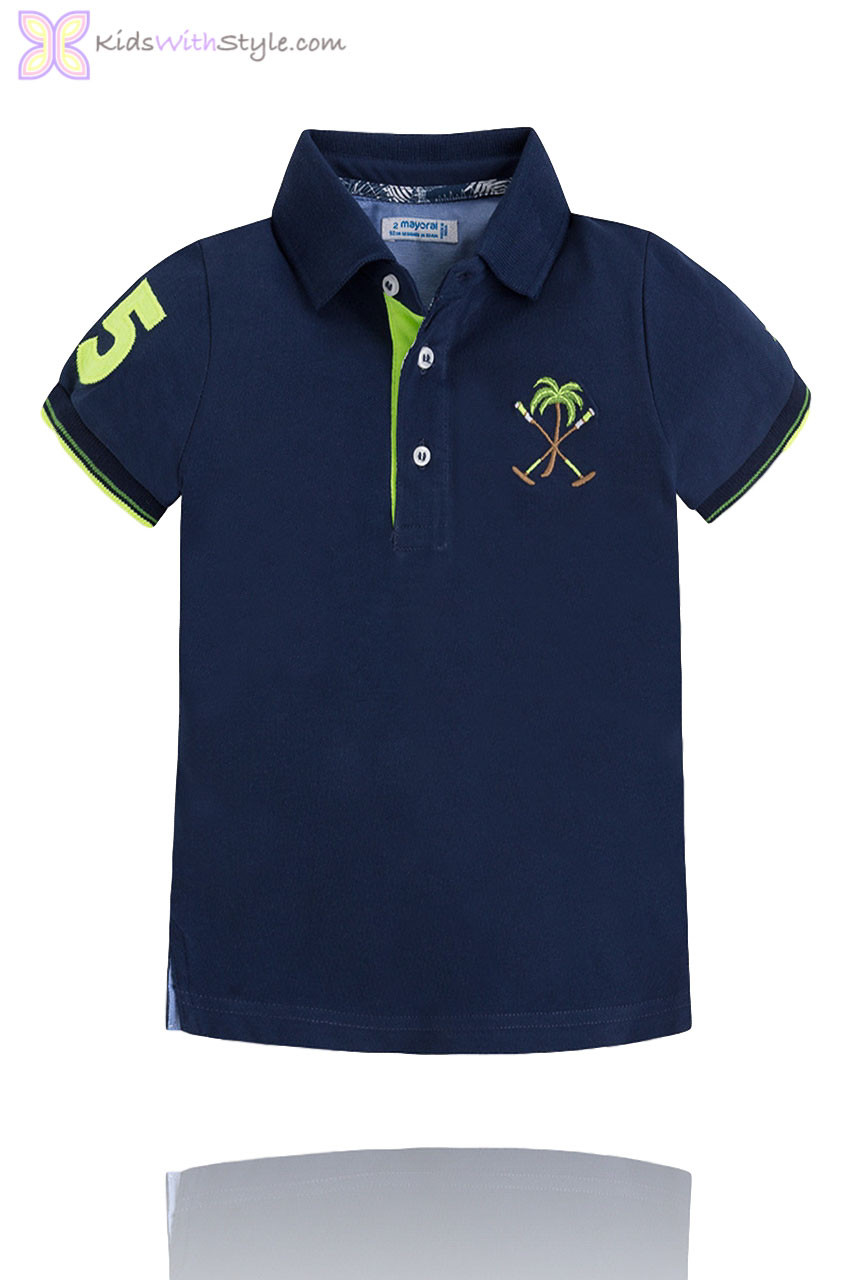 3af81bc8 Boys Polo Shirt with Embroidered Palm Tree in Navy