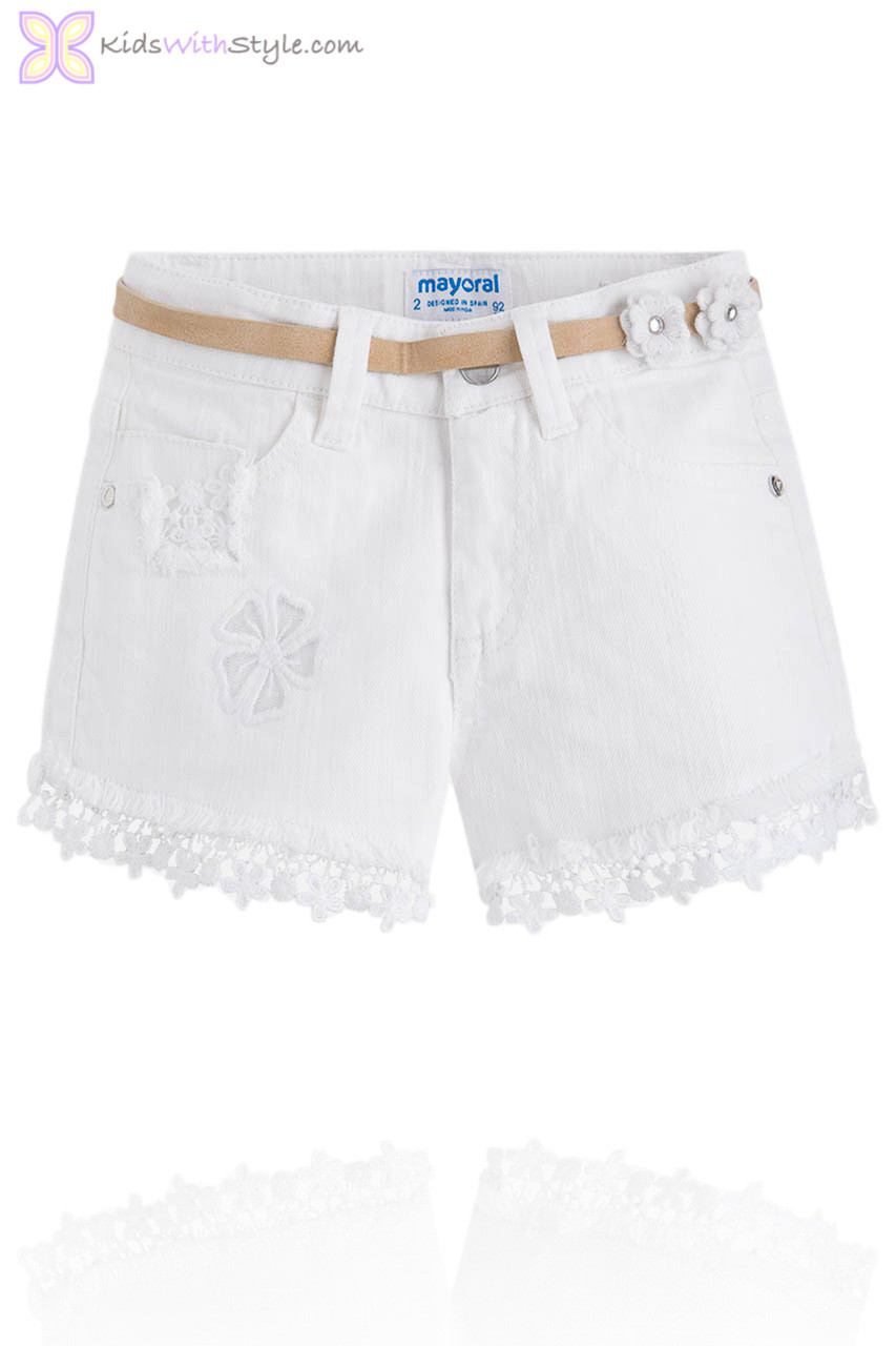 348781d59 Girls Daisy Lace Trim Shorts with Belt