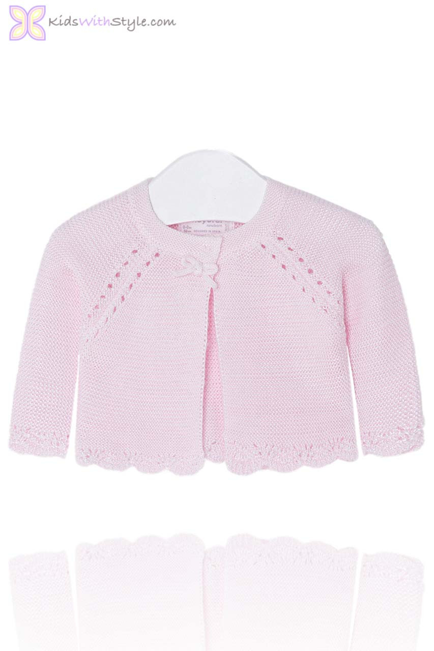 46a8b91ae Baby Girl Pink Knit Openwork Cardigan