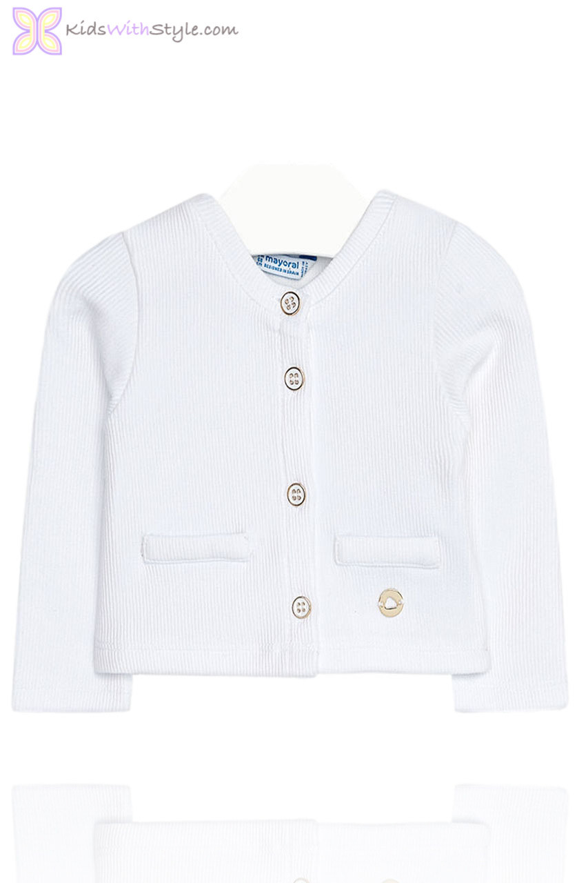 47ea454f47df Baby Girls White Knitted Cardigan Jacket