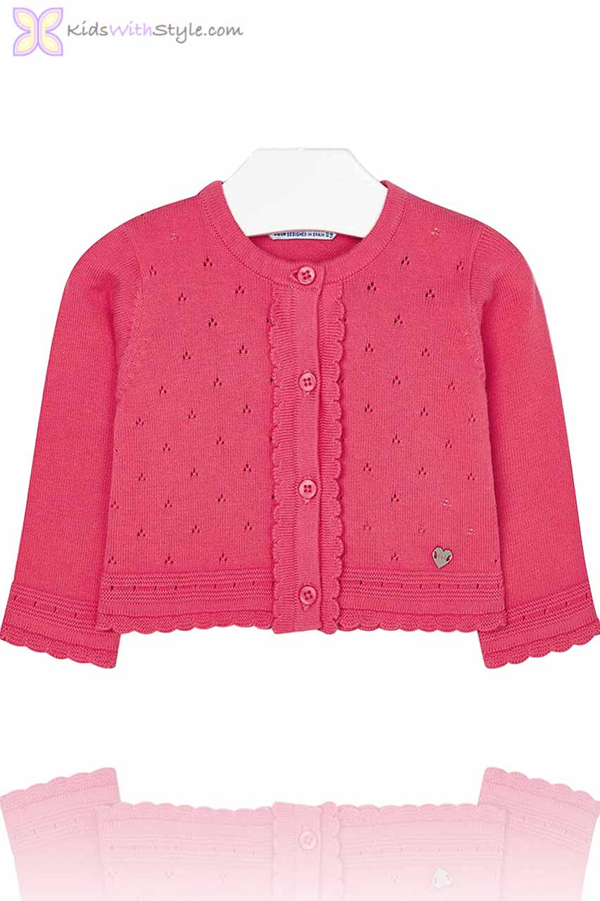 afe0e6dea36d Baby Girl Knitted Cardigan in Deep Pink