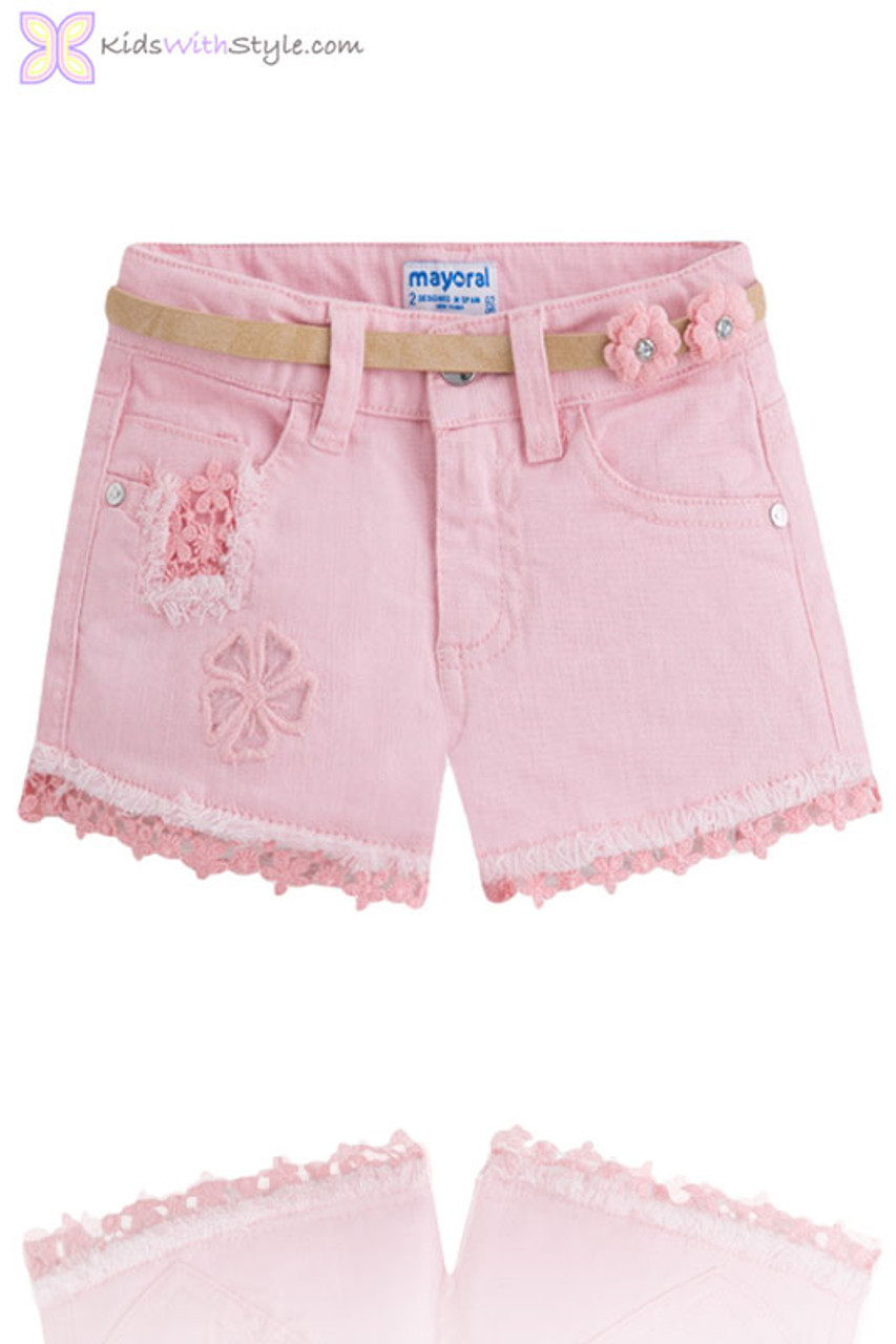 956190ac8 Girls Daisy Lace Trim Shorts with Belt in Pink | Shop Girls Summer ...