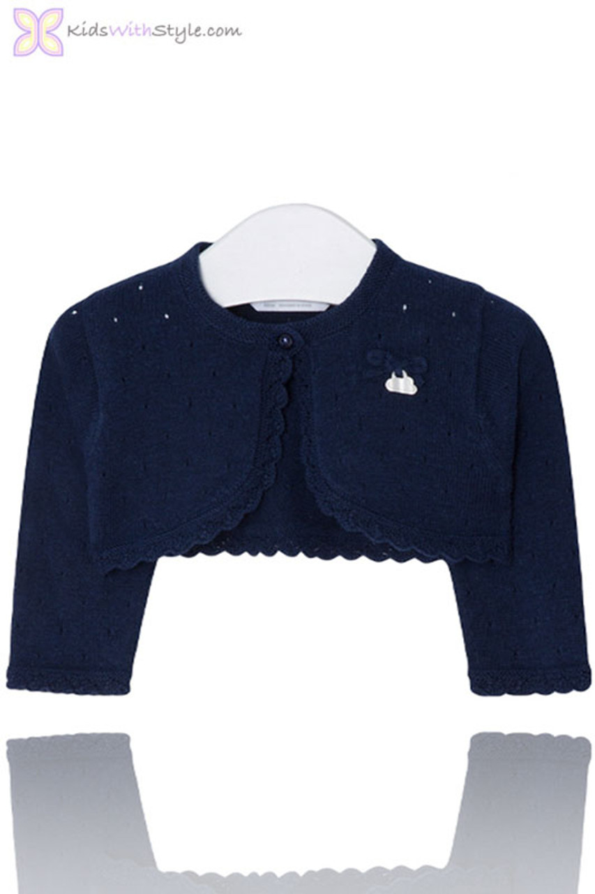 8ea74be16239 Baby Girl Knit Cardigan with Openwork Stitching in Navy