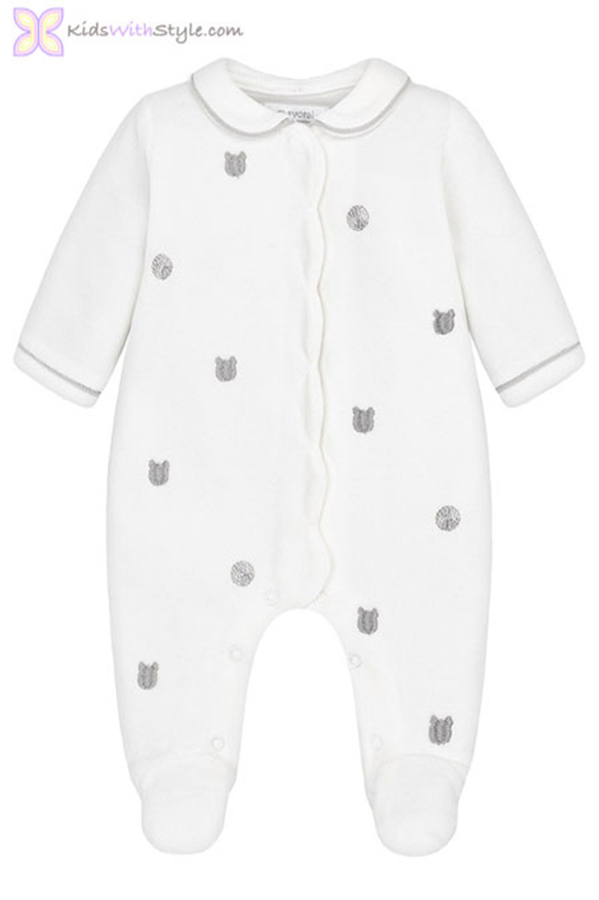 1b8fe68df Baby bo7 Embroidered Onesie Pajamas in Off-White | Shop Baby Boy Pj's