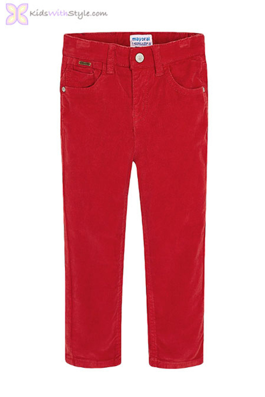 enjoy best price biggest discount new high Young Boys Long Corduroy Pants in Red