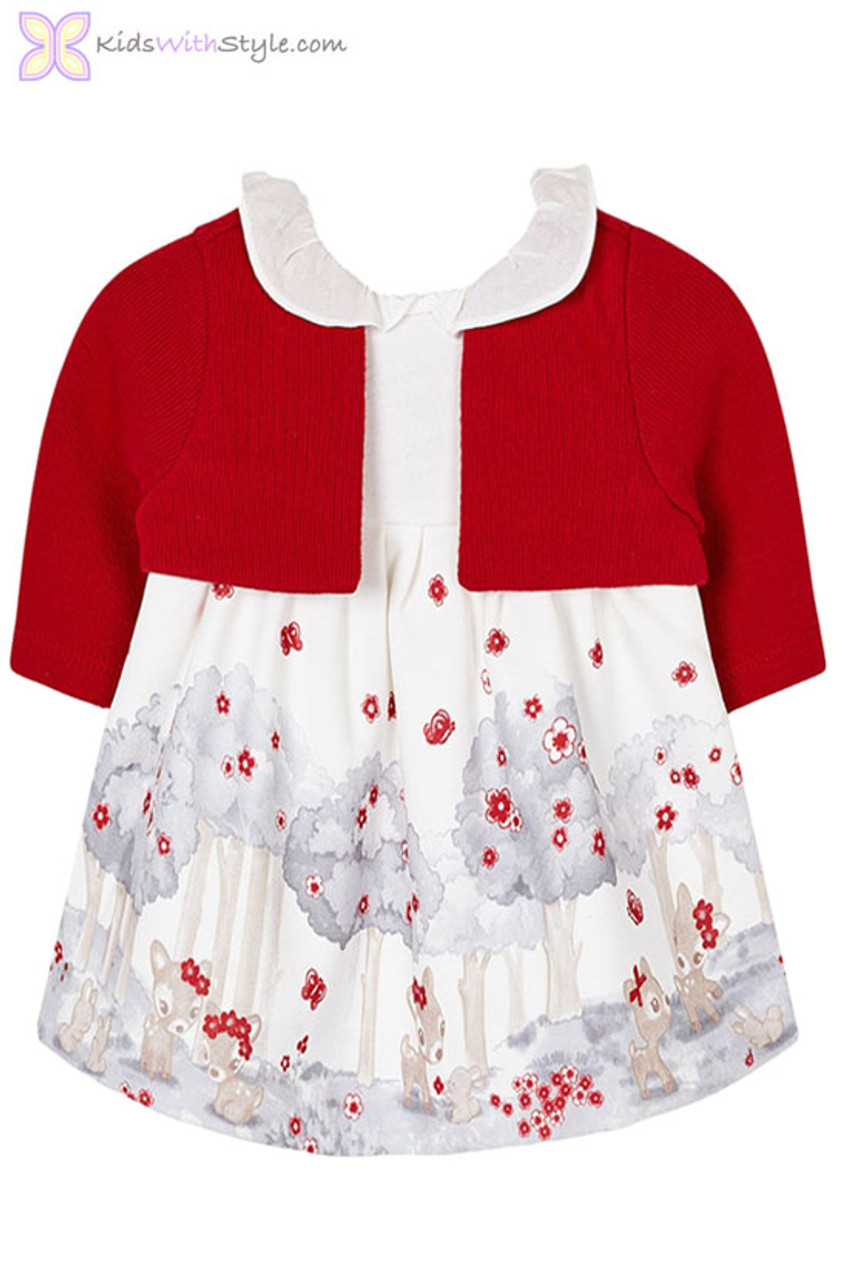 eb534a79b41c8 Baby Girl Floral Winter Dress in Red | Shop Baby Girl Dresses