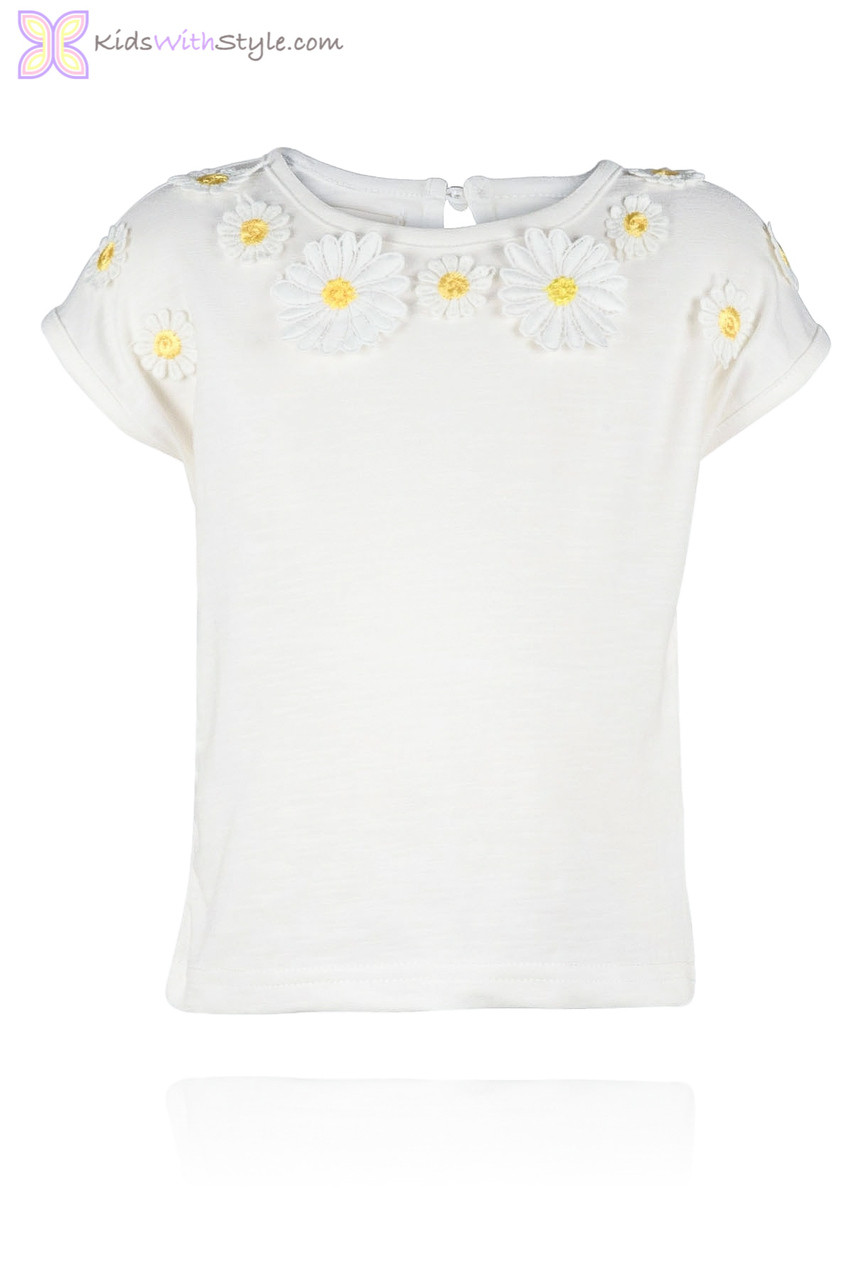 0afe556d Embroidered Daisy Tee Shirt | Shop Girls T-shirts
