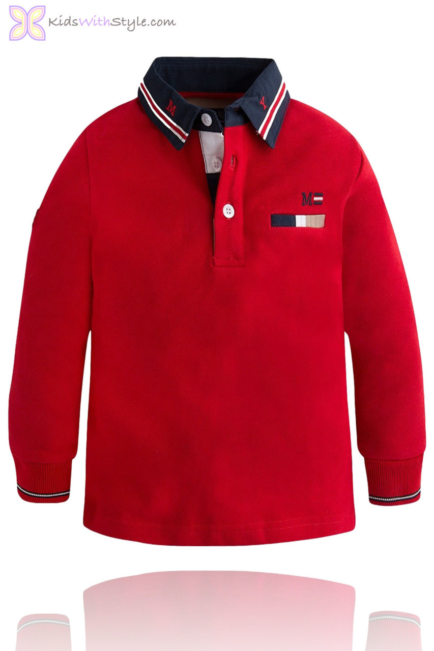 Boys Long Sleeve Red Polo Shirt Kidswithstyle