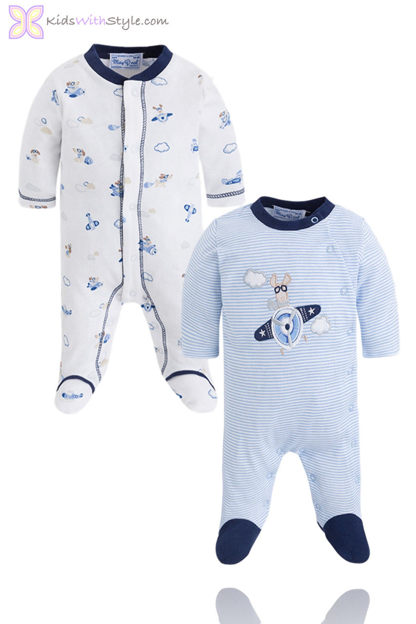 90fecf2e8 Boys Embroidered Blue Striped Onesie Set - KidswithStyle.com