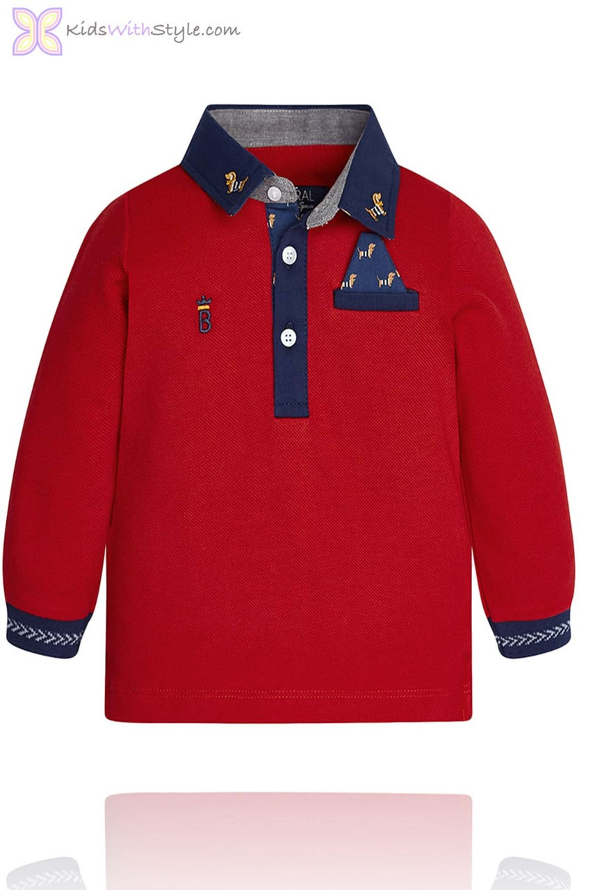 Baby Boy Red Long Sleeve Polo Shirt Kidswithstyle