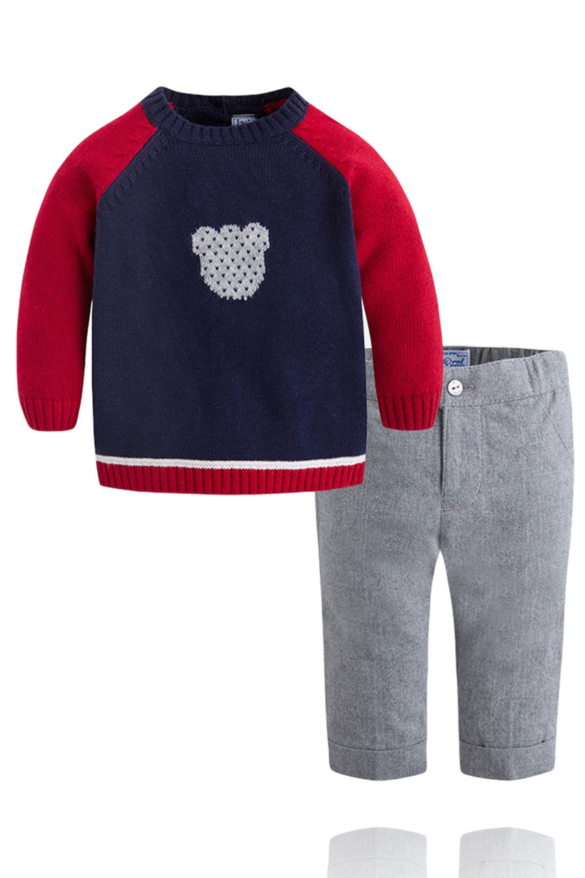 a6ffc901a277 Baby Boy Red and Navy Sweater and Pant Set