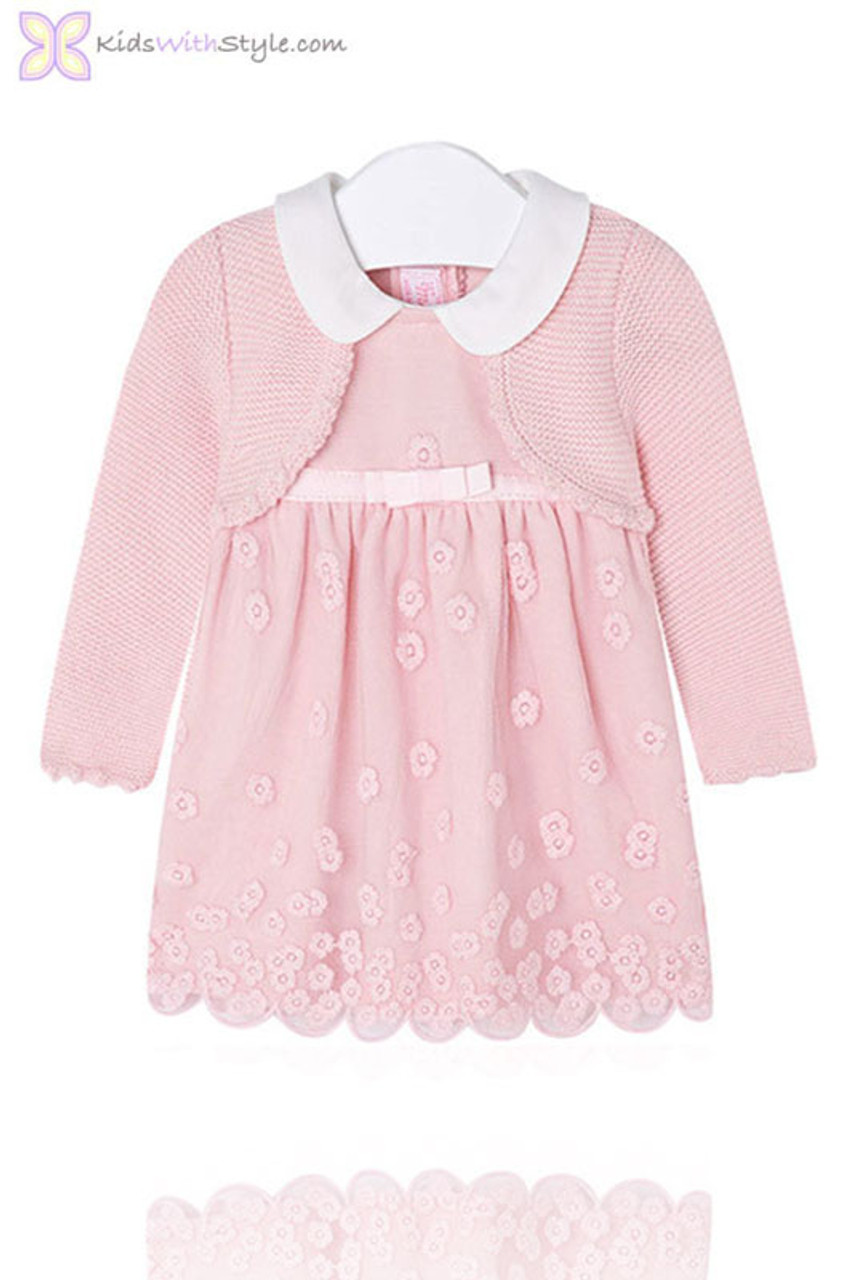 e13b31c2daf Baby Girl Pink Lace Embroidered Dress with Cardigan Set