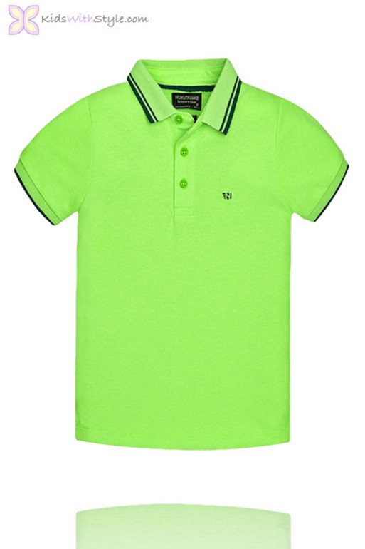 0847174a0 Boys Lime Green Polo With Navy Blue Accents | Shop Junior Boys Tops ...