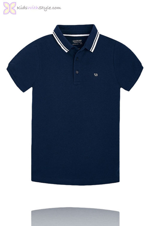 fa932546a5c3 Boys Navy Polo with White Accents