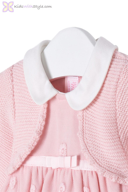 ed56cd56b Baby Girl Pink Lace Embroidered Dress with Cardigan Set