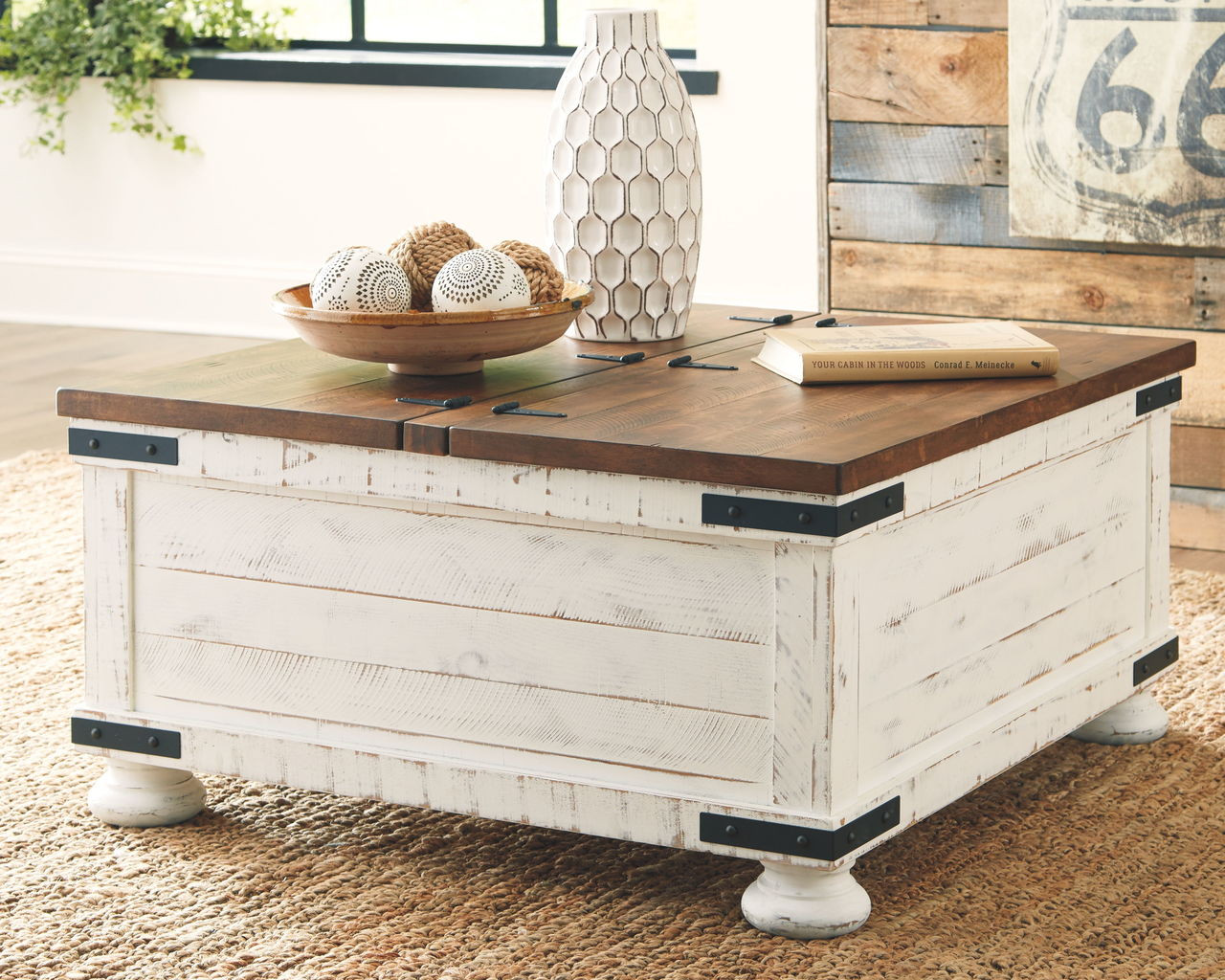 - The Wystfield White/Brown Cocktail Table With Storage Available At