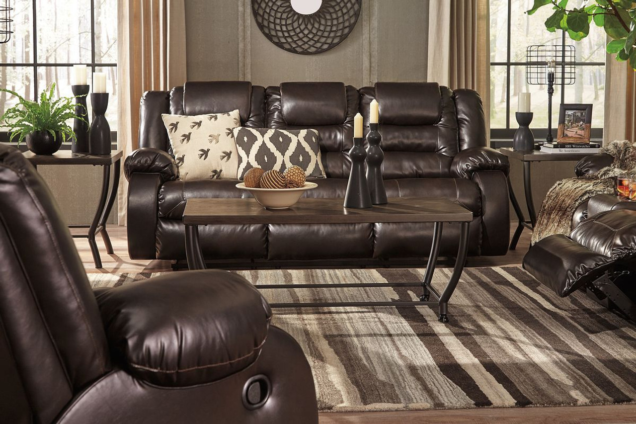 Terrific Vacherie Chocolate Reclining Sofa Double Reclining Loveseat With Console Onthecornerstone Fun Painted Chair Ideas Images Onthecornerstoneorg