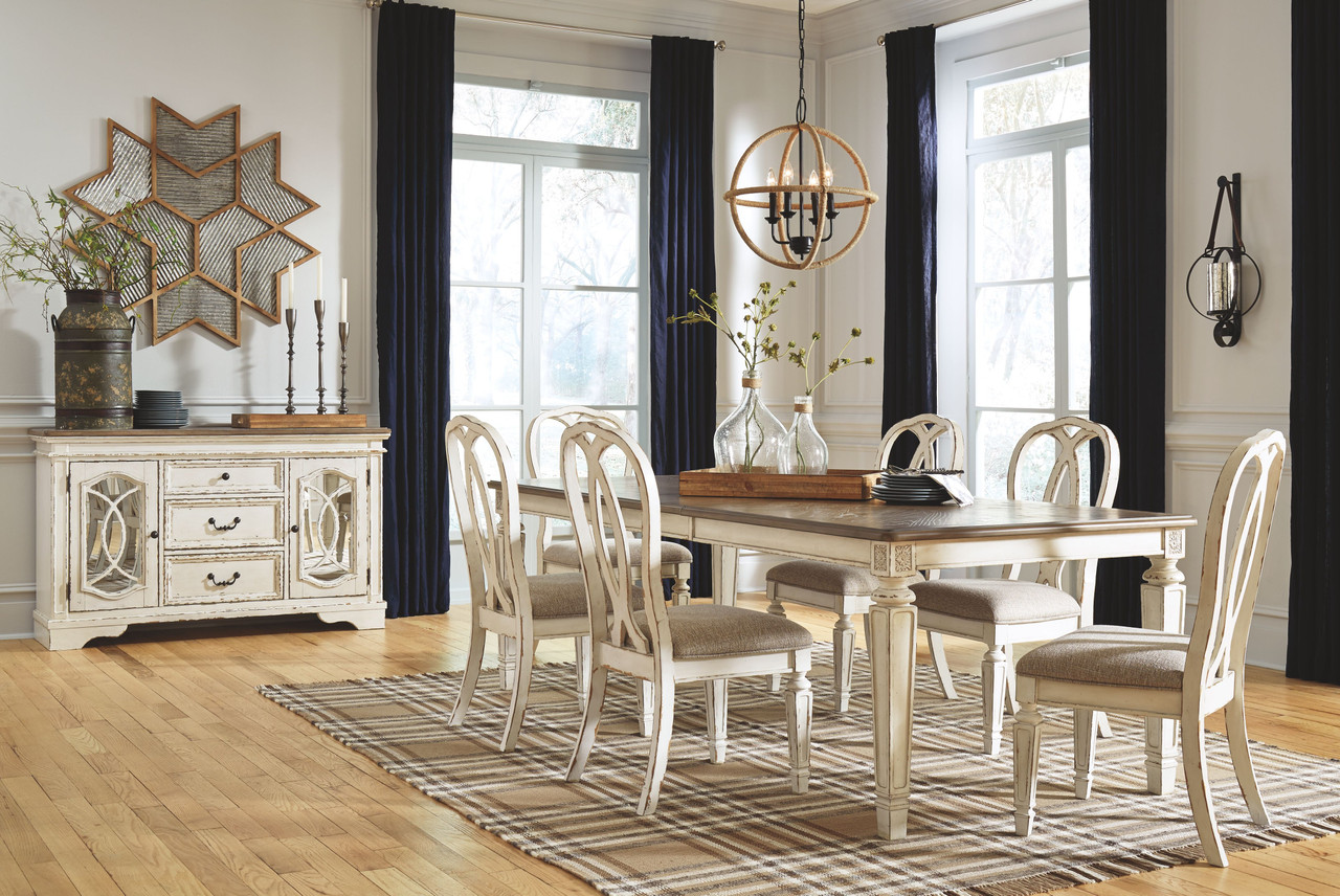 Realyn 7 Pc. Dining Room Set: Rectangular Table with Leaf and 6 Ribbon  Backed Side Chairs