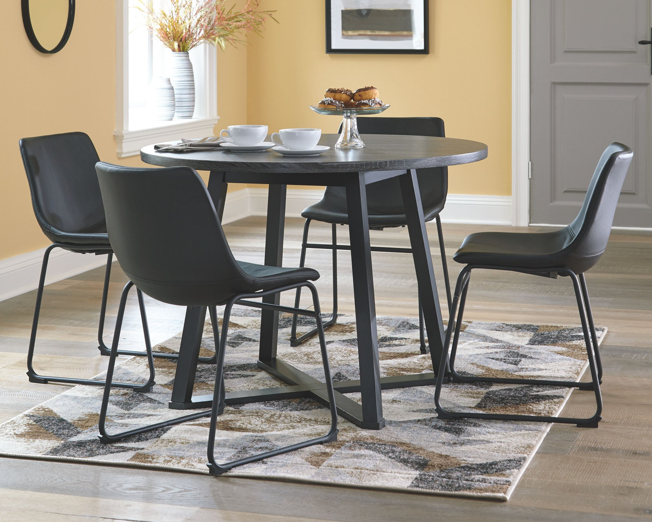 The Centiar Gray Black Round Dining Room Table Available At Dayton Discount Furniture Serving Vandalia Kettering And Springfield Ohio