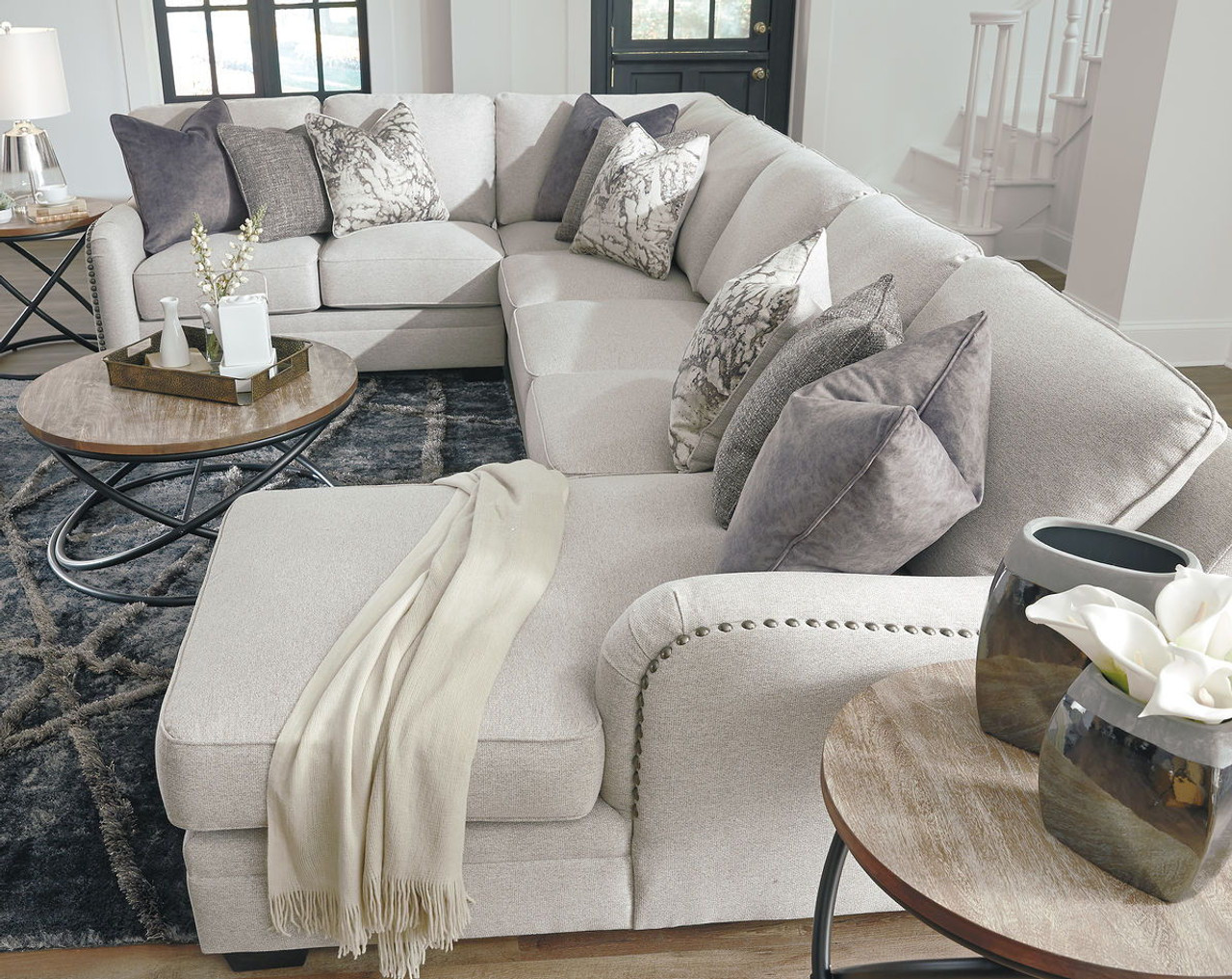 The Dellara Chalk Laf Loveseat Wedge Armless Loveseat Raf Corner Chaise Sectional Available At Dayton Discount Furniture Serving Vandalia Kettering And Springfield Ohio