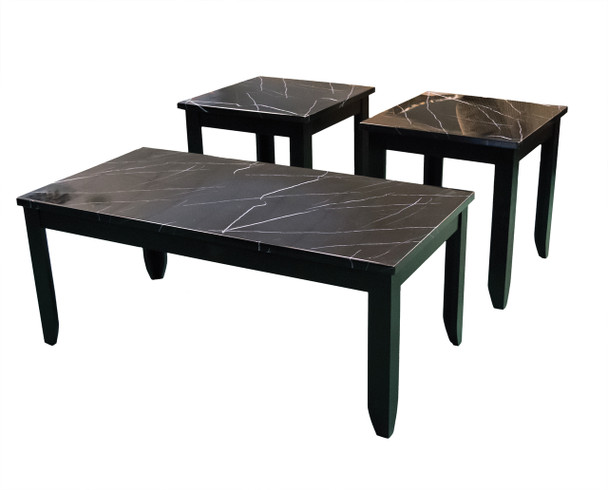 Faux Black Marble Occasional Table Set (3/CN)