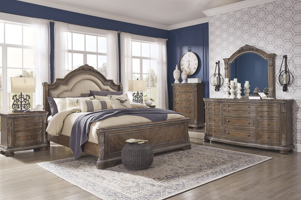 Charmond Brown 7 Pc. Dresser, Mirror, King Upholstered Sleigh Bed & 2 Nightstands