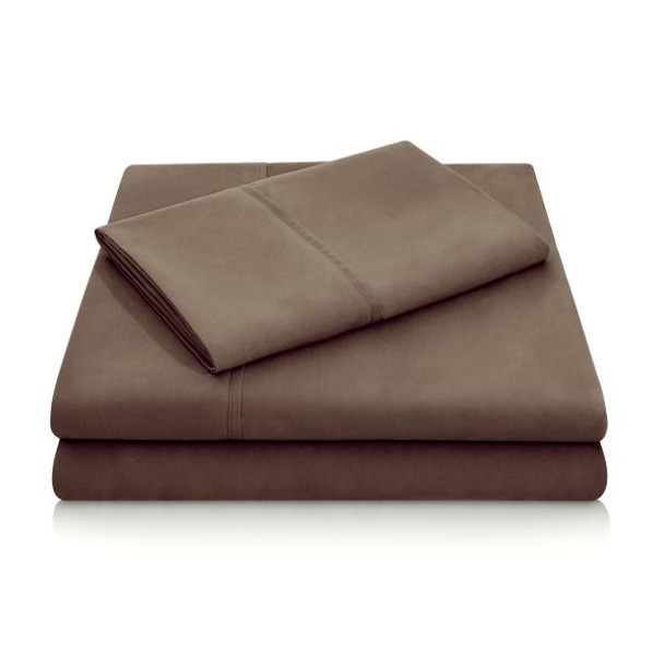 Woven Linen Chocolate Brushed Microfiber Sheets
